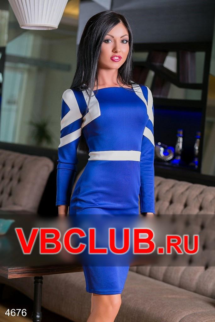 Облегающее синее платье цвета электрик FN-4676
