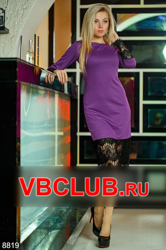 Платье миди с кружевом FN-8819