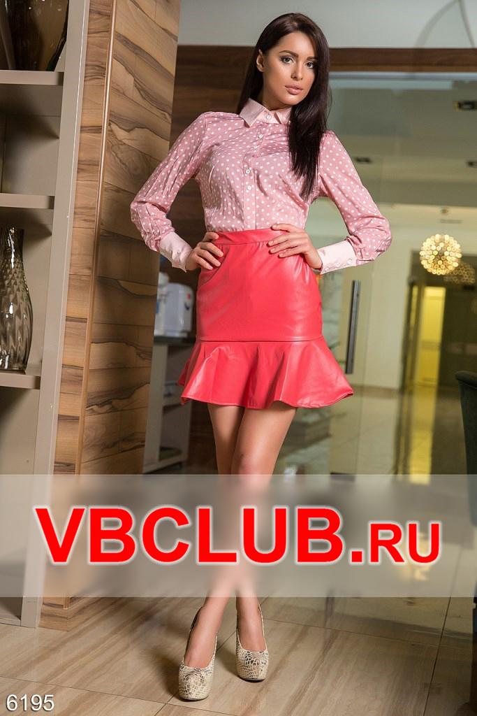 Красная мини юбка из эко-кожи на молнии FN-6195