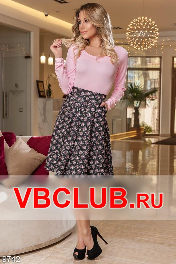 Летняя женская юбка с рисунком цветов FN-9742