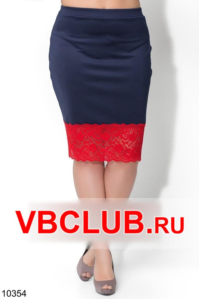Однотонная синяя юбка с кружевом снизу FN-10354
