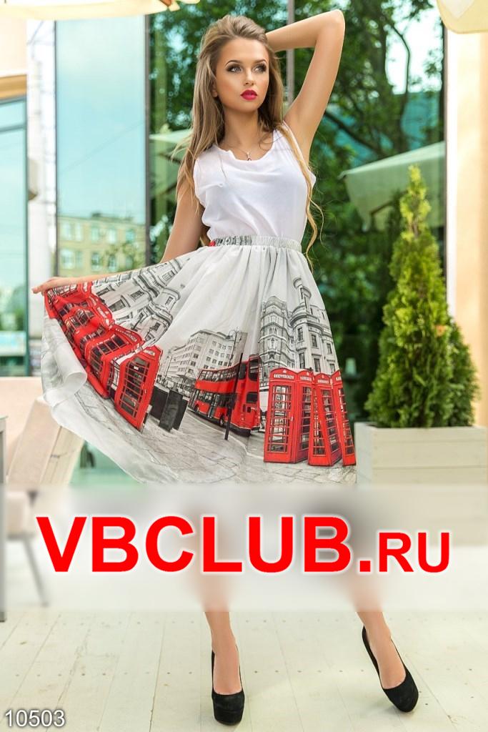 Белая юбка на резинке с рисунком города FN-10503