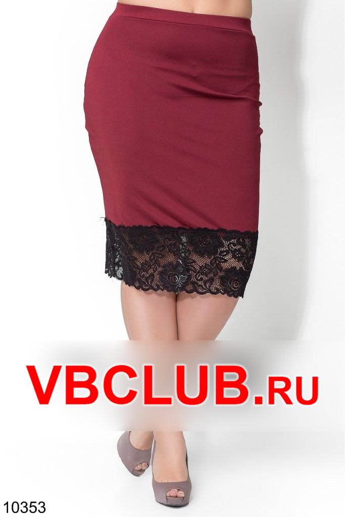 Однотонная бордовая юбка с кружевом FN-10353